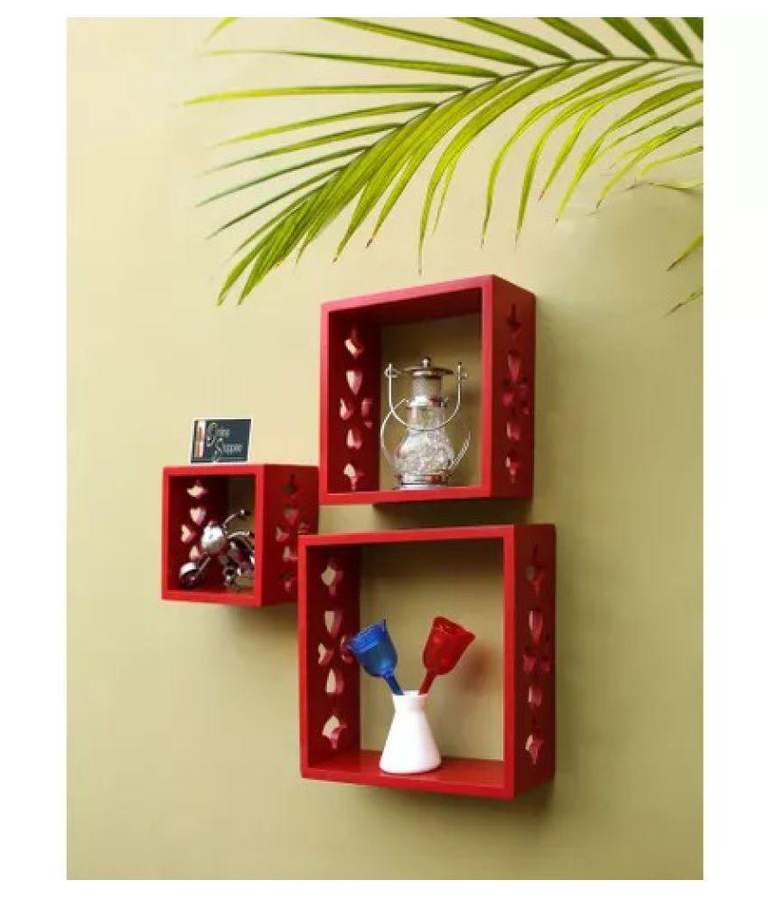 Onlineshoppee Floating Shelves Red MDF - Pack of 3