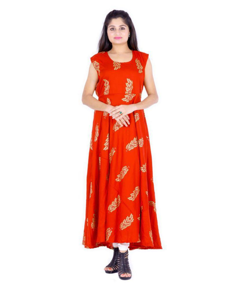 Dhruvi Rayon Red Fit And Flare Dress