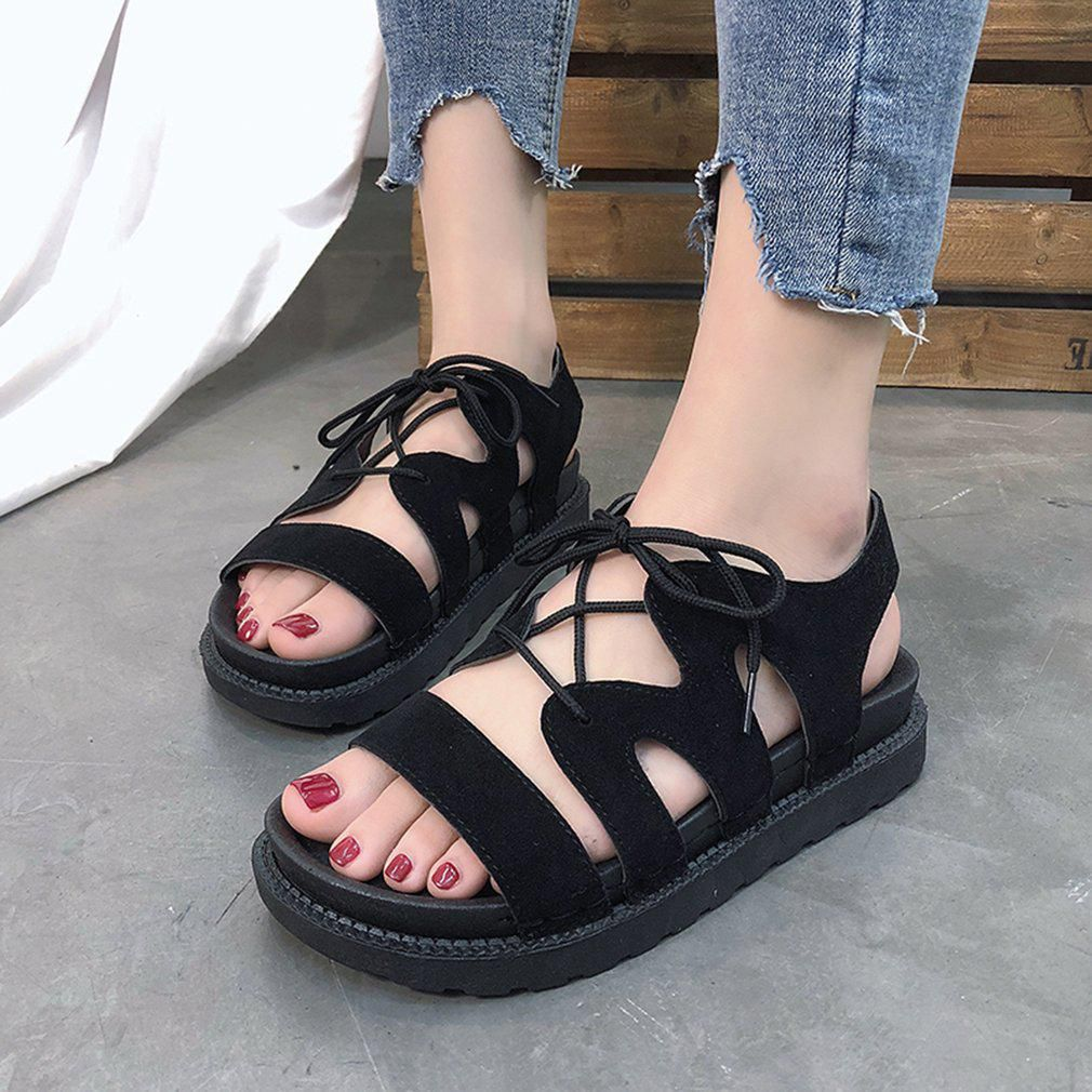 e22eaf6b0b Fashion Lace-up Sandals Slippers For Ladies Women Platform Shoes Flat Shoes  - Buy Fashion Lace-up Sandals Slippers For Ladies Women Platform Shoes Flat  ...