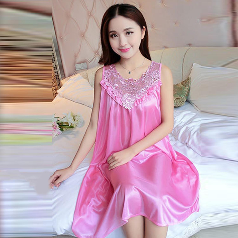 61f419d96af7 ... Sexy Sleeveless Ice Silk Summer Night Dress Loose Women Lady Sleeping  Dress ...