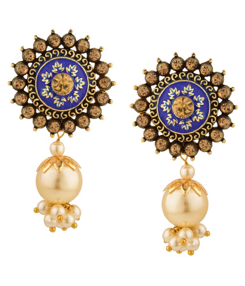 Archi Collection Fashion Jewellery Stylish Antique Ethnic Boho Vintage Oxidised Gold Statement Pearl Drop Stud Earrings Set