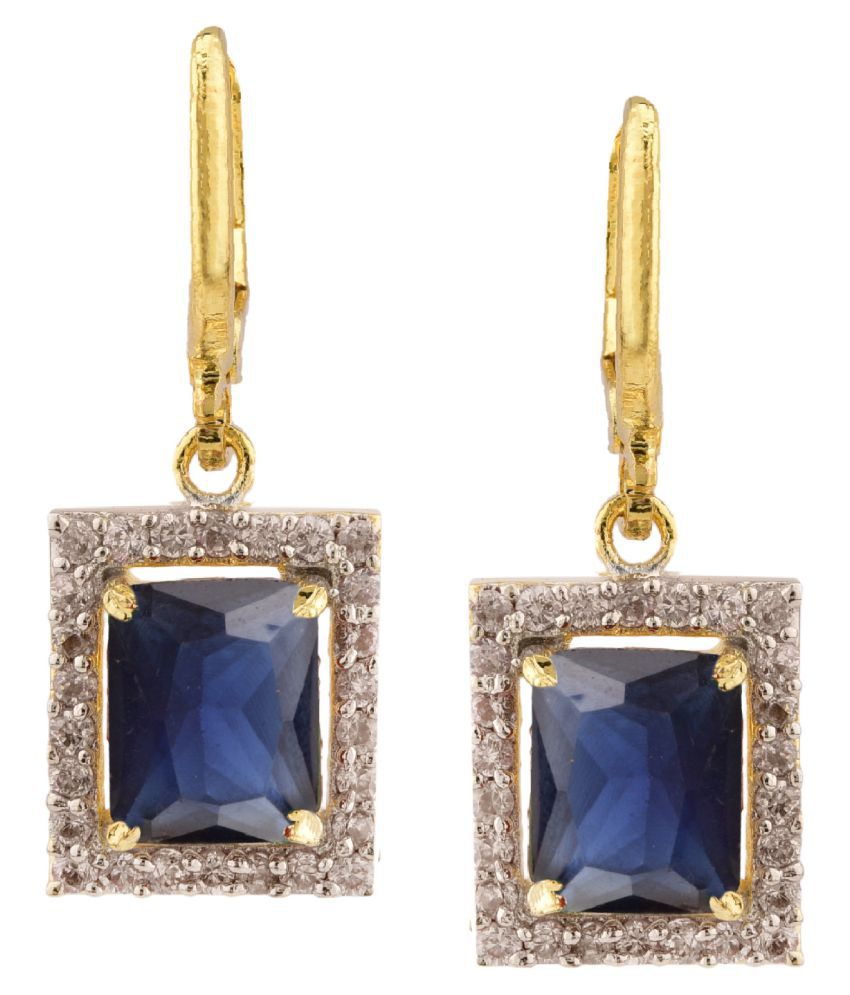 Archi Collection Stylish Trendy Fancy Party Wear Gold Plated Cubic Zirconia Drop Hoop Clip On Earrings Jewellery Set