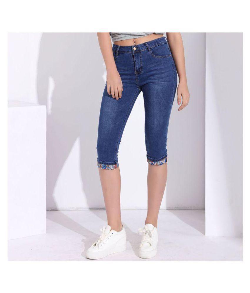 ba603b1d1f8ea Buy Summer Skinny Jeans Capris Women Stretch Knee Length Denim Pants High  Waist Women s Jeans Plus Size Female Short Jean for Woman Online at Best  Prices in ...