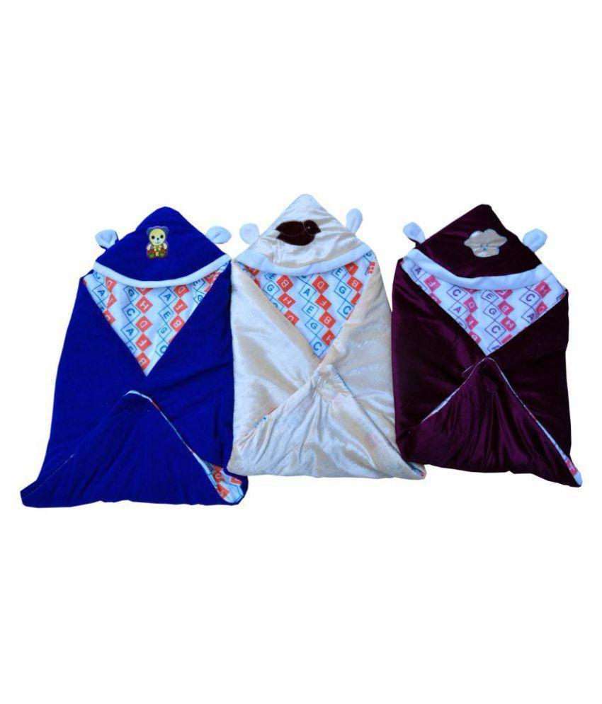 Parkash & Sons Blue Fleece Baby Wrap cum blanket ( 65 cm × 65 cm - 1 pcs)