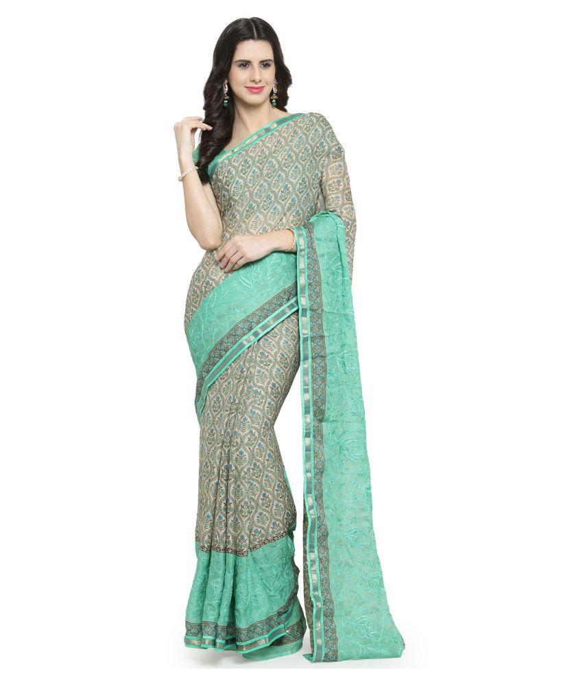 Shaily Retails Green Chiffon Saree