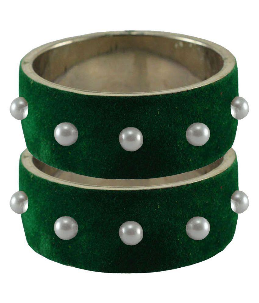 Dark Green Beads Stud Brass Bangle