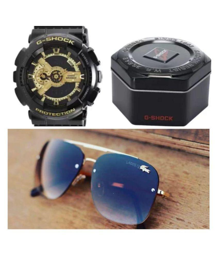 LACOSTE SUNGLSS Black Square Sunglasses ( 11089 )