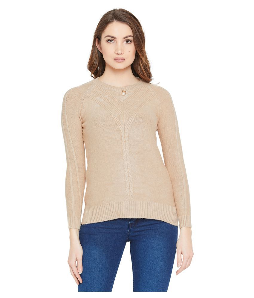 Camey Acrylic Beige Pullovers
