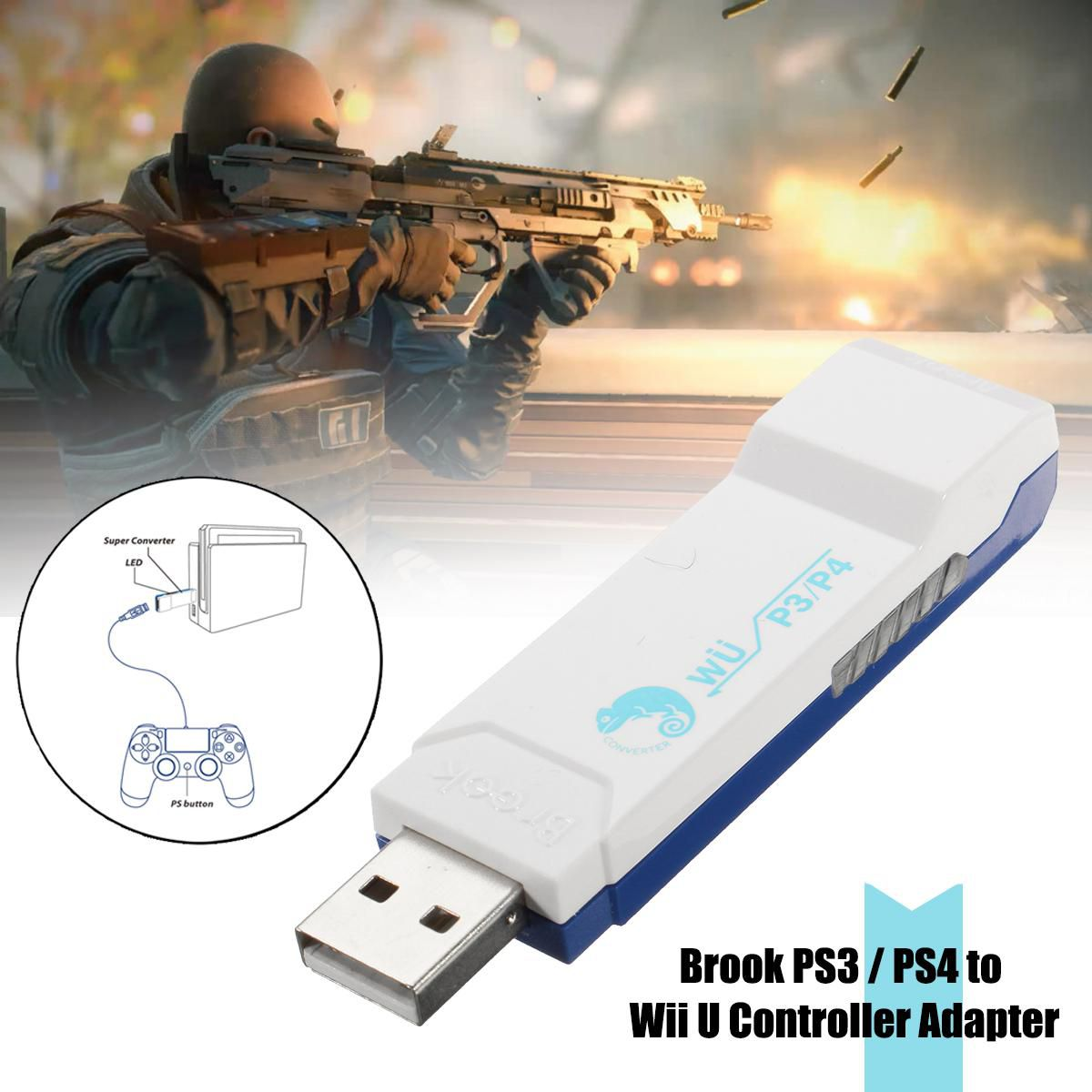 Brook PS3/PS4 USB Controller To Wii U NS PC Console Converter Adapter Edition