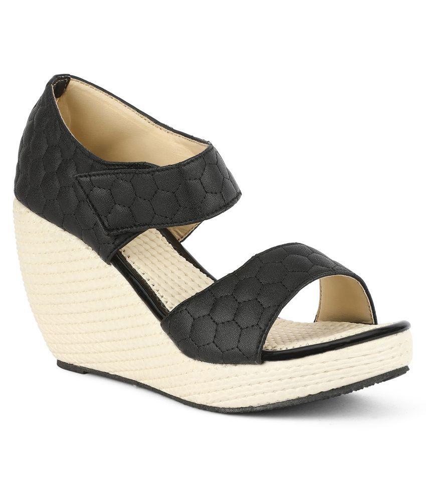 Sindhi Footwear Black Wedges Heels