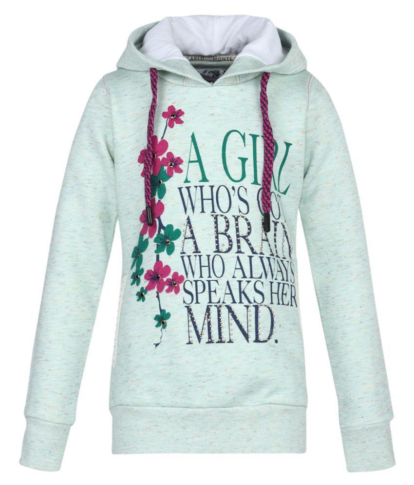 Monte Carlo Grey Printed Cotton Hood Sweatshirts