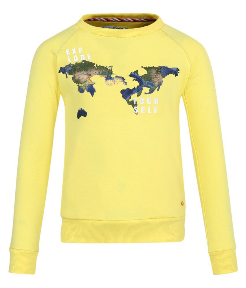 Monte Carlo Yellow Printed Cotton Round Neck Sweatshirts