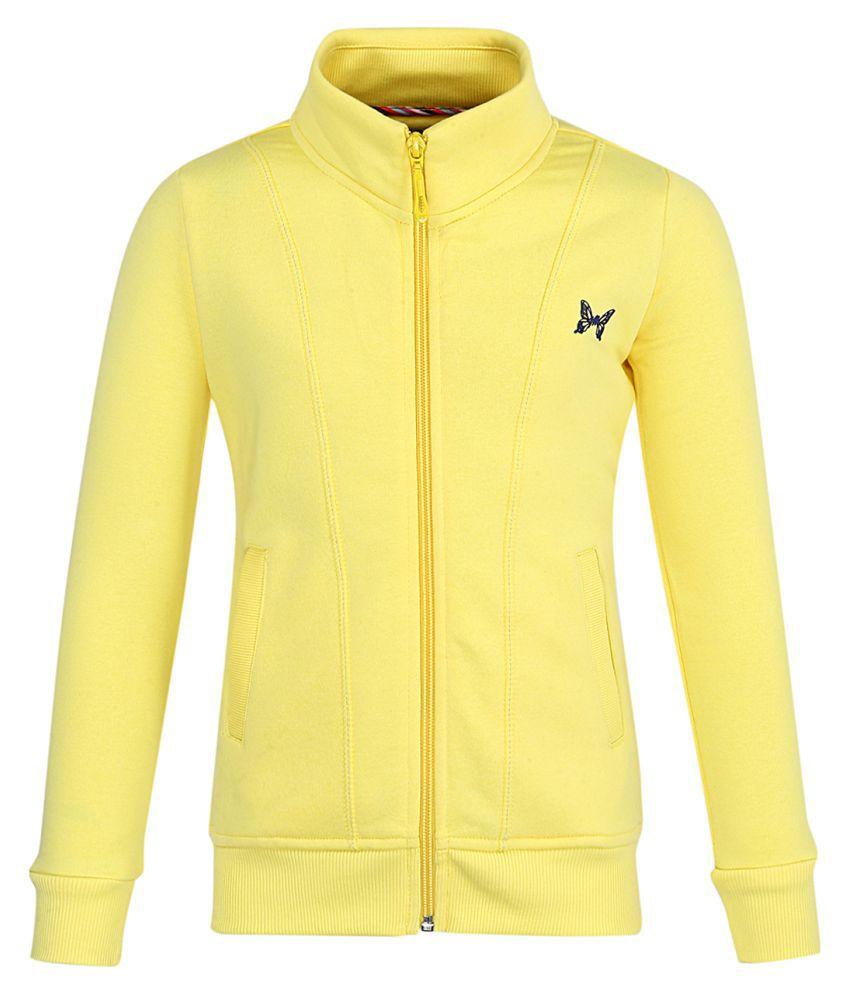 Monte Carlo Yellow Solid Cotton Polo Collar Sweatshirts