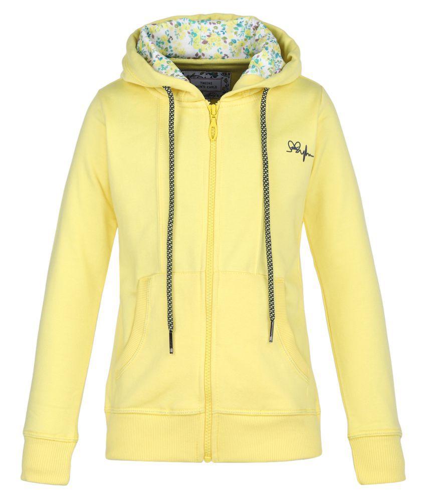 Monte Carlo Yellow Solid Cotton Hood Sweatshirts