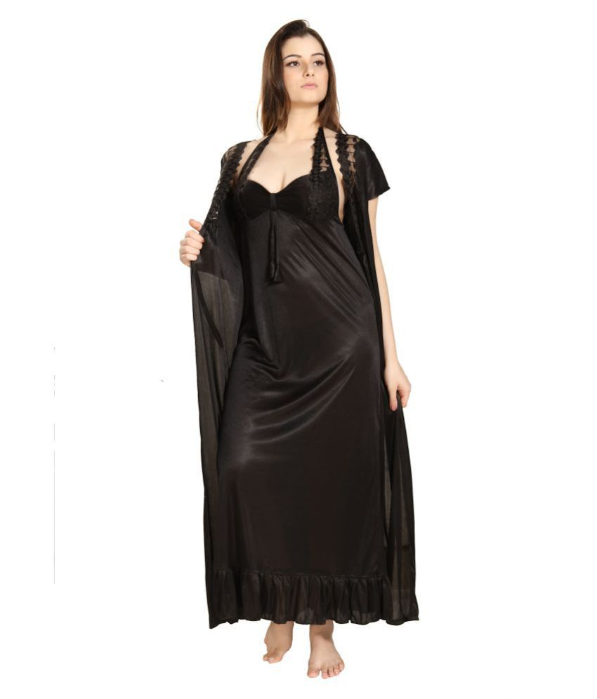 017d372ce Buy Romaisa Lace Nighty   Night Gowns - Black Online at Best Prices in India  - Snapdeal
