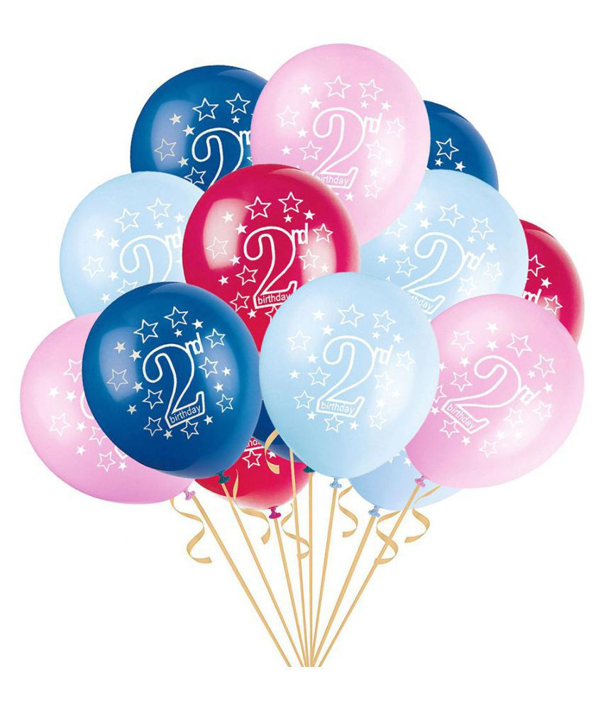 15Pcs Baby Boy Girl 2nd Birthday Confetti Latex Balloons Inflatable Party Decor