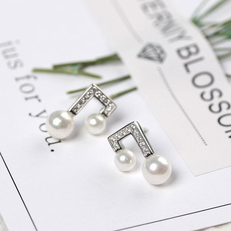 Note pearl diamond earring