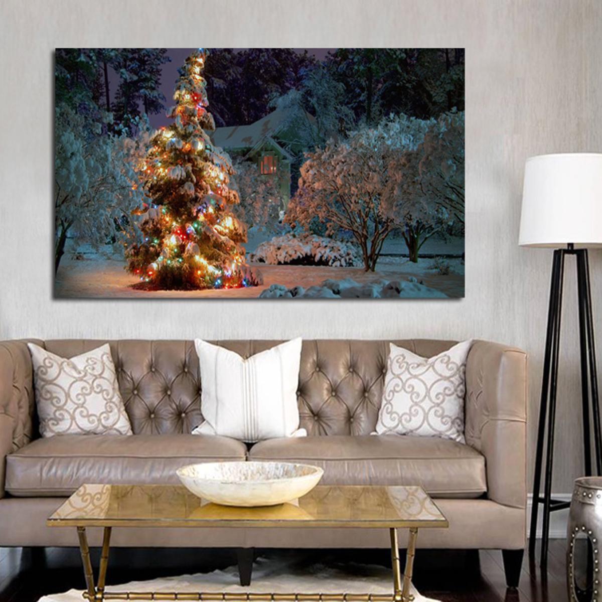 Xmas Painting Decor Snowflake Christmas Tree Snowman Canvas Print Hang Picture