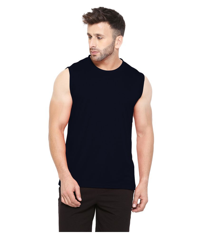 CHKOKKO Cotton Sleeveless Solid Regular Casual Round Neck T Shirts Vests or Tank Tops for Men Volleyball Jersey