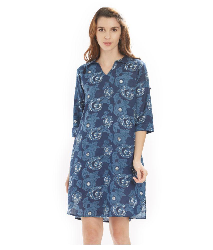 Soie Cotton Blue A- line Dress