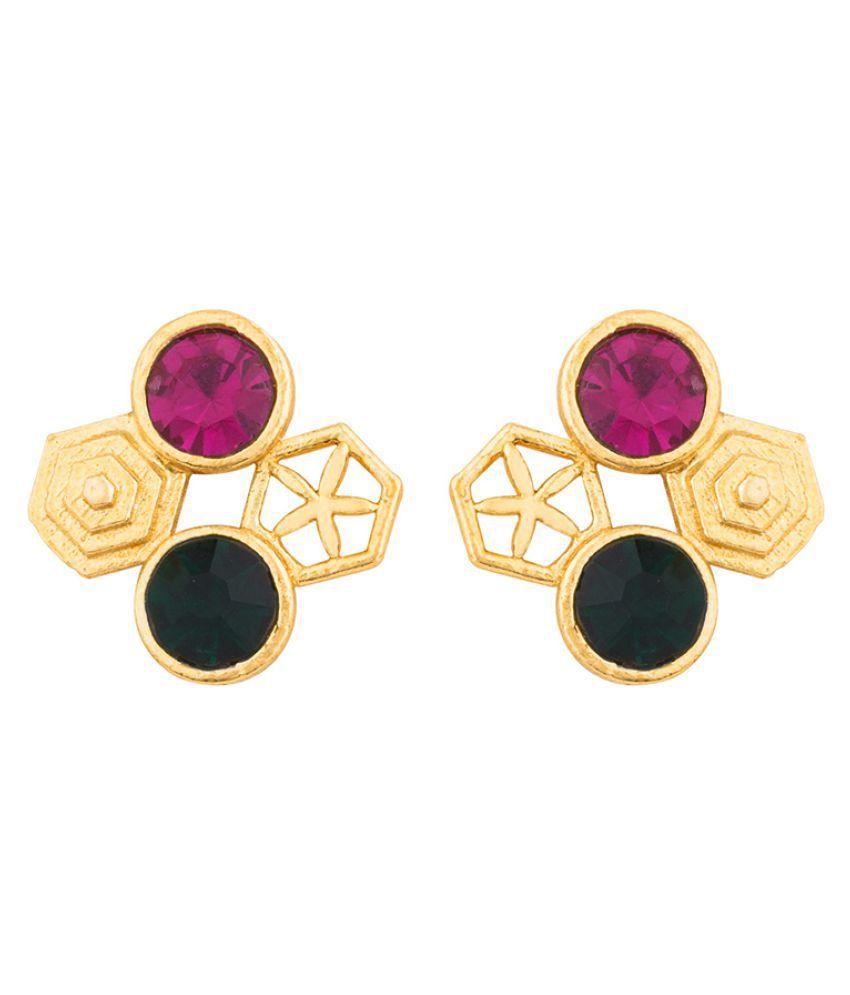 Voylla Dual-Stone Hexa Geomatrix Earrings For Women
