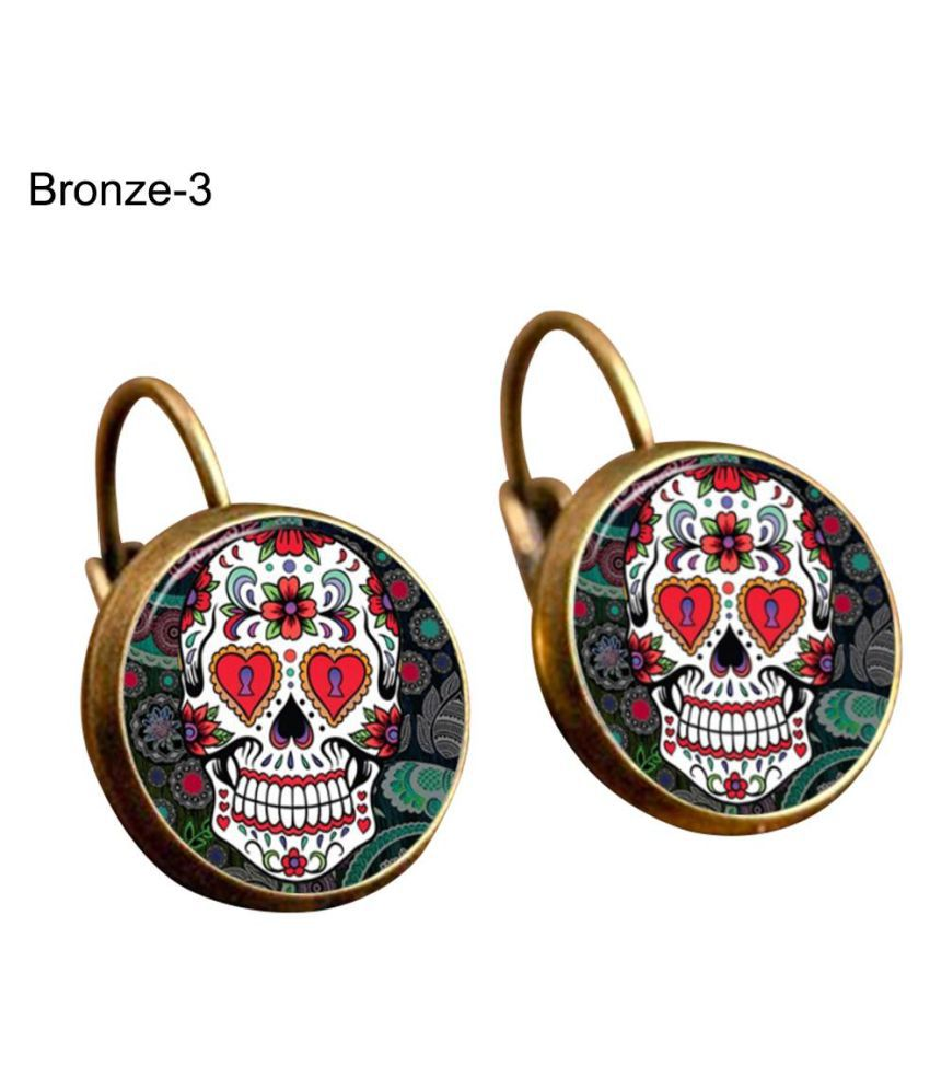 Colorful Women Skull Cabochon Leaverback Clips Earrings Party Halloween Jewelry