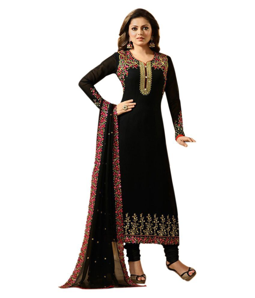 c46dabe57b INFINITY ETHNICWEAR Black Georgette Anarkali Gown Semi-Stitched Suit - Buy  INFINITY ETHNICWEAR Black Georgette Anarkali Gown Semi-Stitched Suit Online  at ...