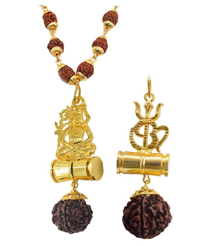 Men Style Religious Jewellery Om Trishul Shiv Gold Brown Brass Wood Pendant with Rudraksha Mala