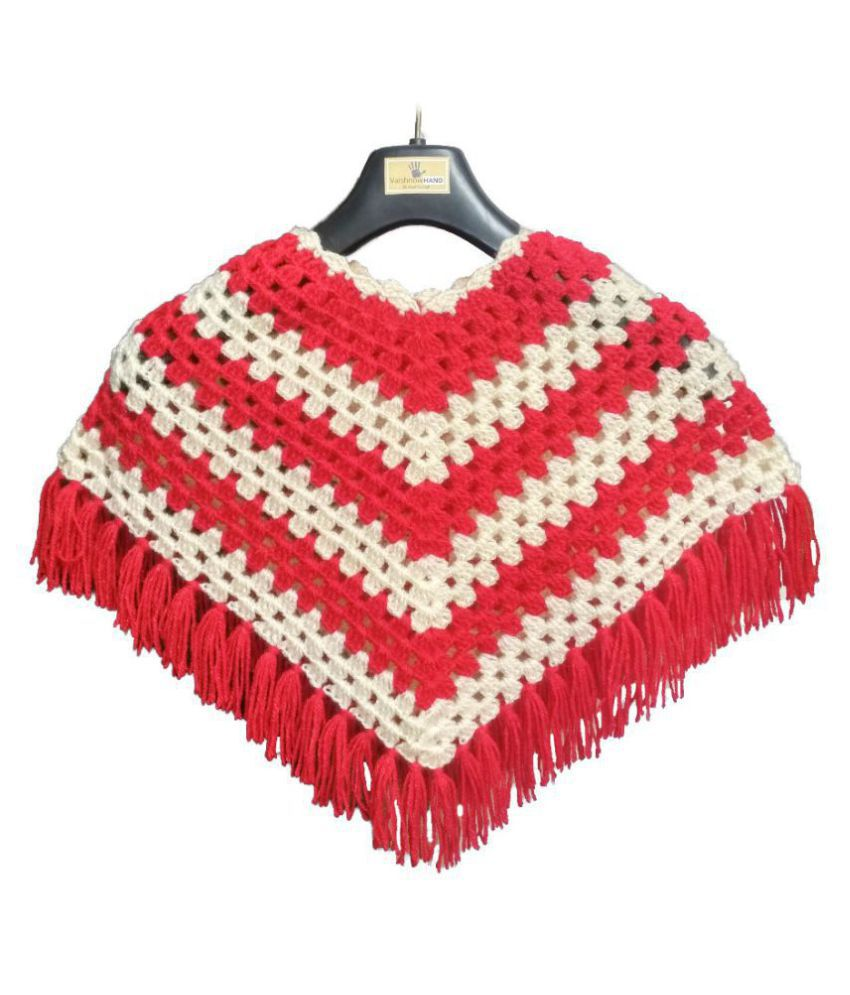 VaishnowHAND Woolen hand knitted crochet Ponchu Stylish design For Baby girls to adult girls , Designed ponchu for girls