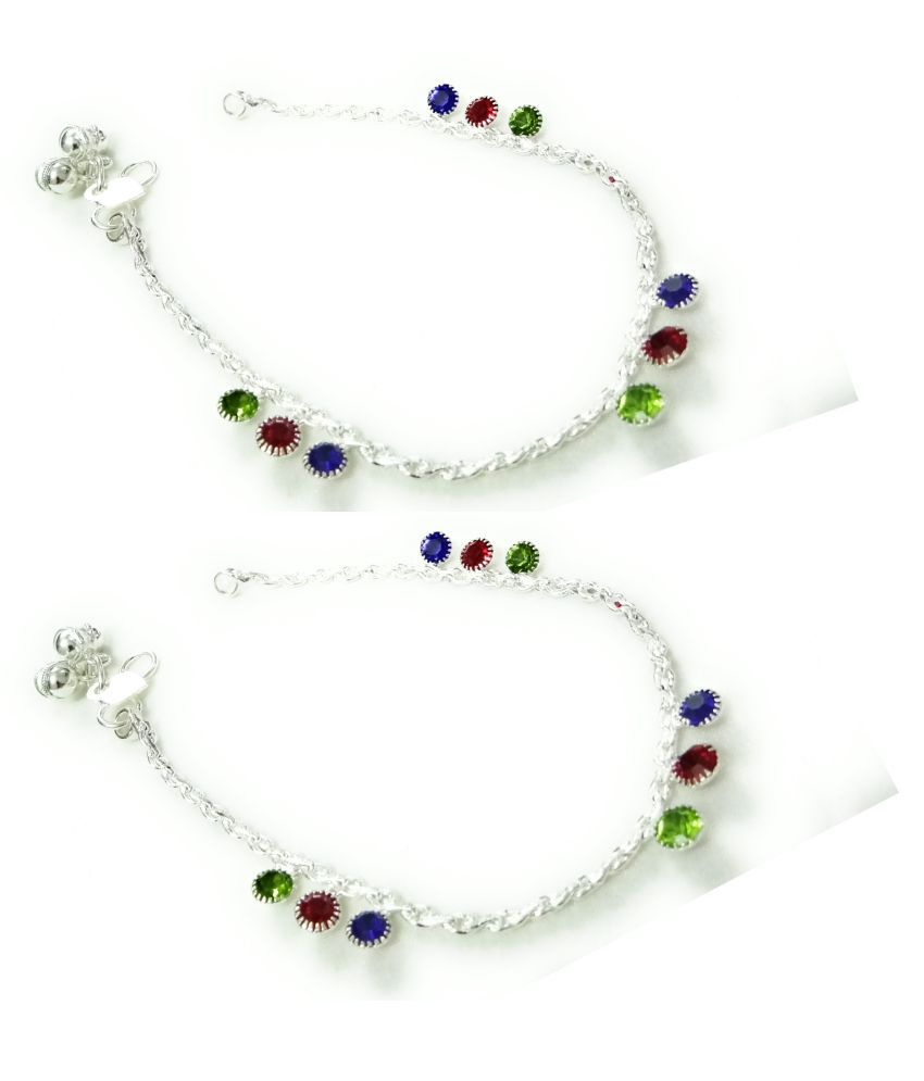 SMARNN Silver Plated Stylish Baby Girl Anklets Baccha Payal Latest Traditional Ghungaroo for Kids Children Baby Girls (5-12 years)