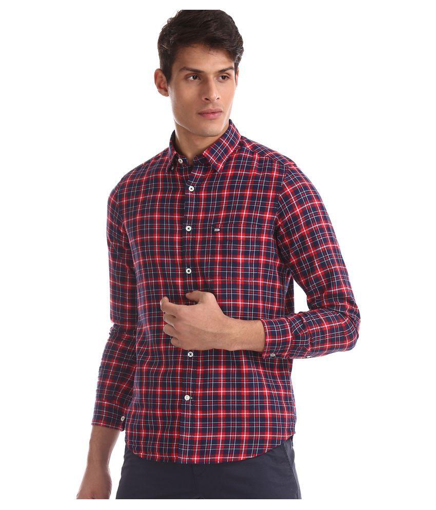 Arrow 100 Percent Cotton Red Checks Shirt
