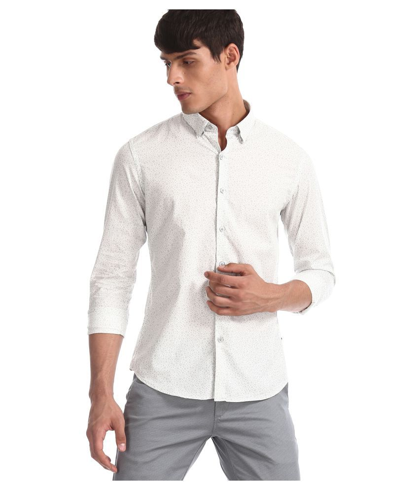 Flying Machine 100 Percent Cotton White Prints Shirt