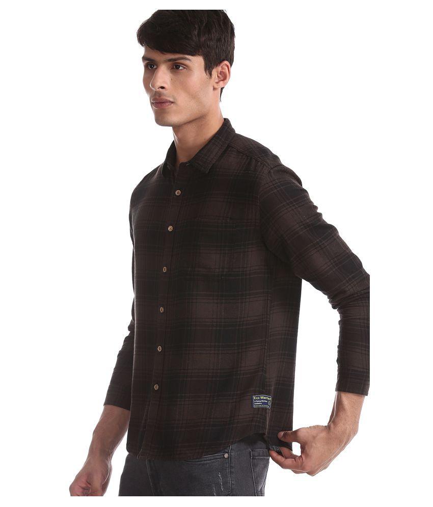 Flying Machine Cotton Blend Brown Checks Shirt