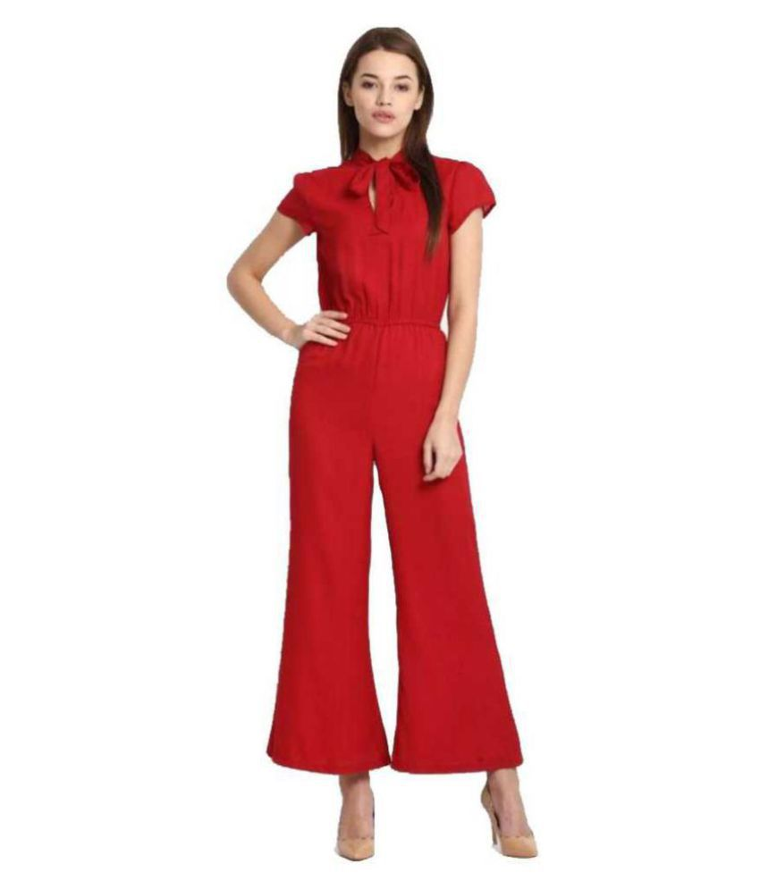 shree wow Red Crepe Jumpsuit