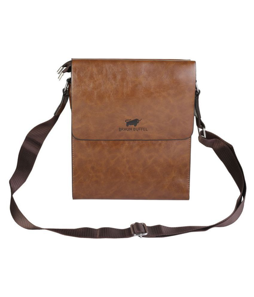 KOMTO 6893-2 Brown Leather Office Messenger Bag