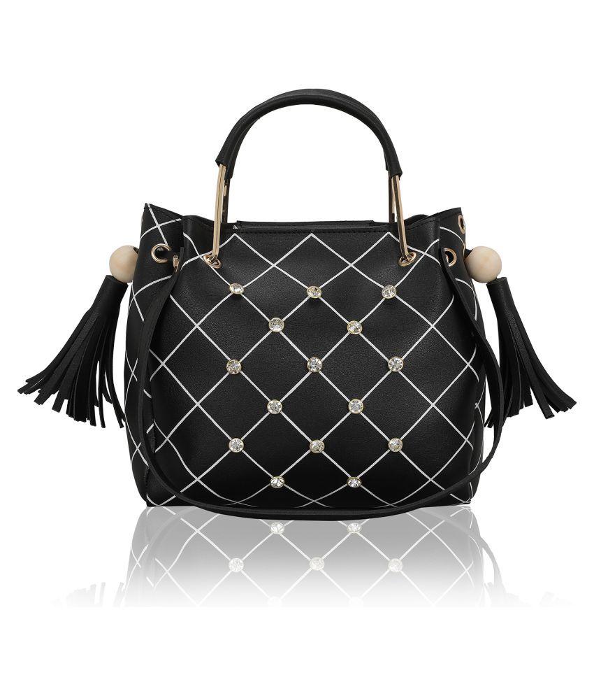 Bagclan Black Faux Leather Shoulder Bag