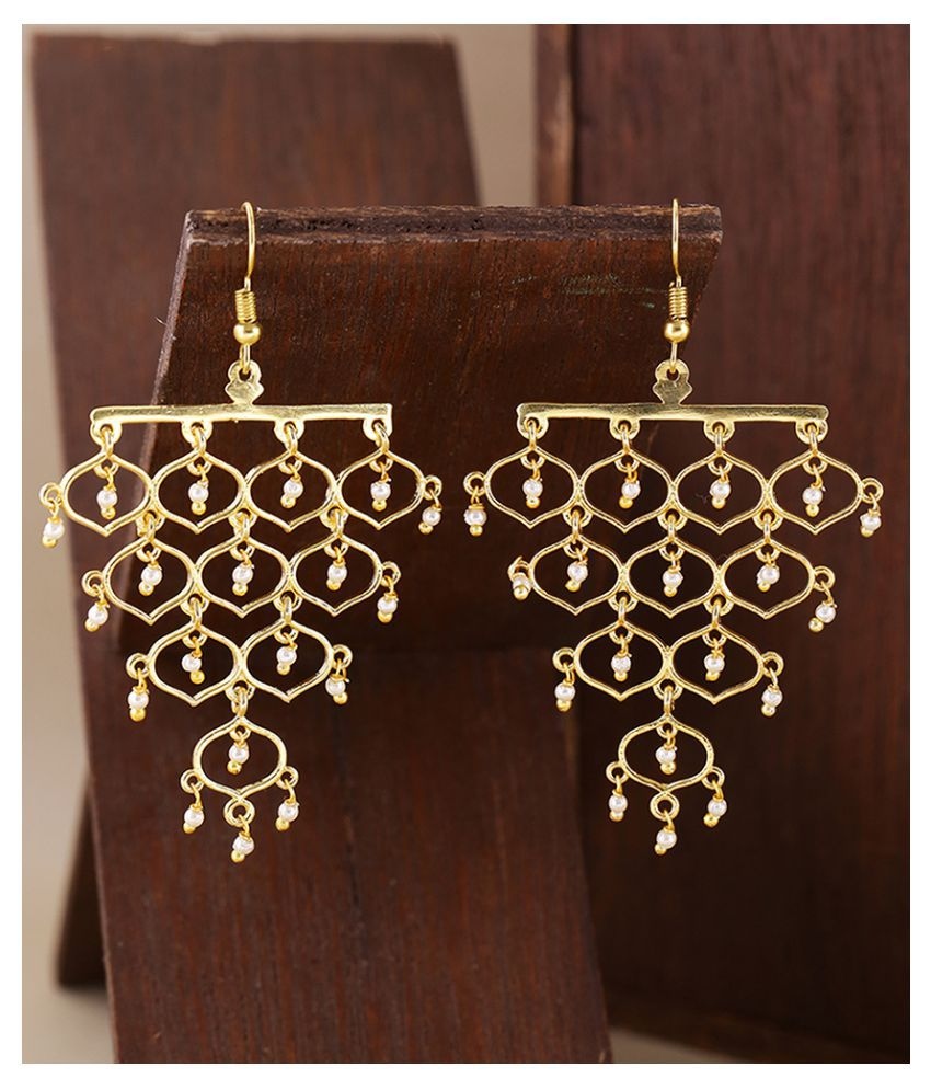 Voylla Jaali Pearl Grapevine Pattern Earrings