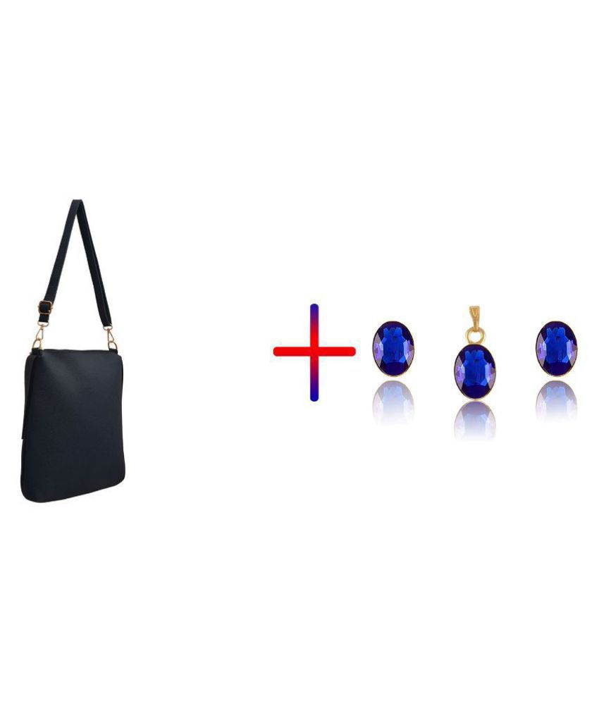 TAP FASHION Blue Faux Leather Sling Bag & Crystal Pendant Set Combo