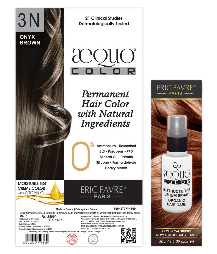 Aequo Color byPurenaturals 3N Organic Permanent Hair Color Dark Brown 160 mL