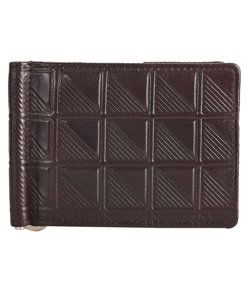RAGE GAZE Leather Brown Casual Money Clipper