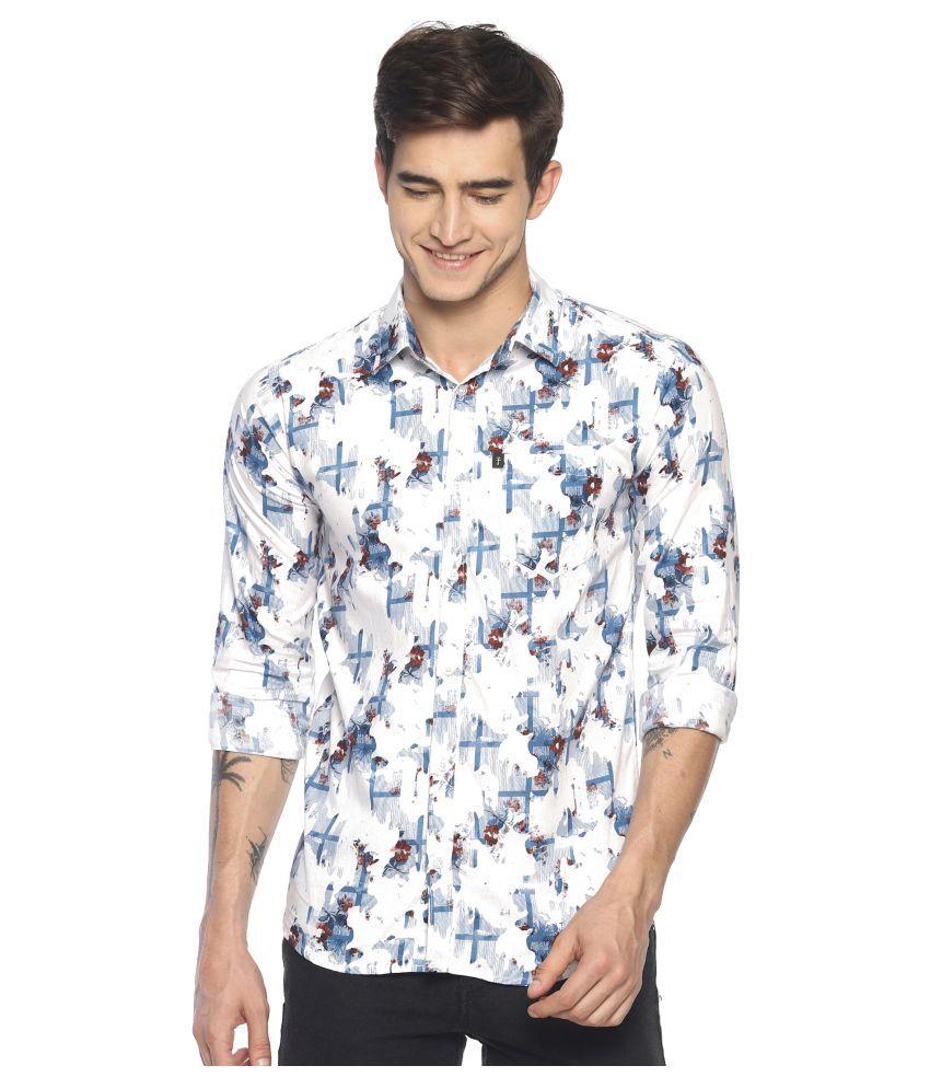 Levizo 100 Percent Cotton White Prints Shirt