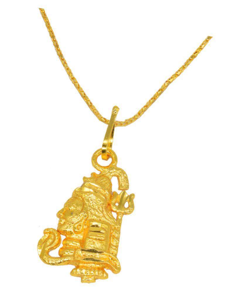 Shiv Jagdamba  Religious Jewelry Cubic Zirconium Lord Mahadev Shiva Bolenath Locket With Chain Gold-plated Brass Pendant
