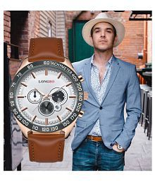 LONGBO Business Casual Leather Non-Functional Chronograph Men's Watch