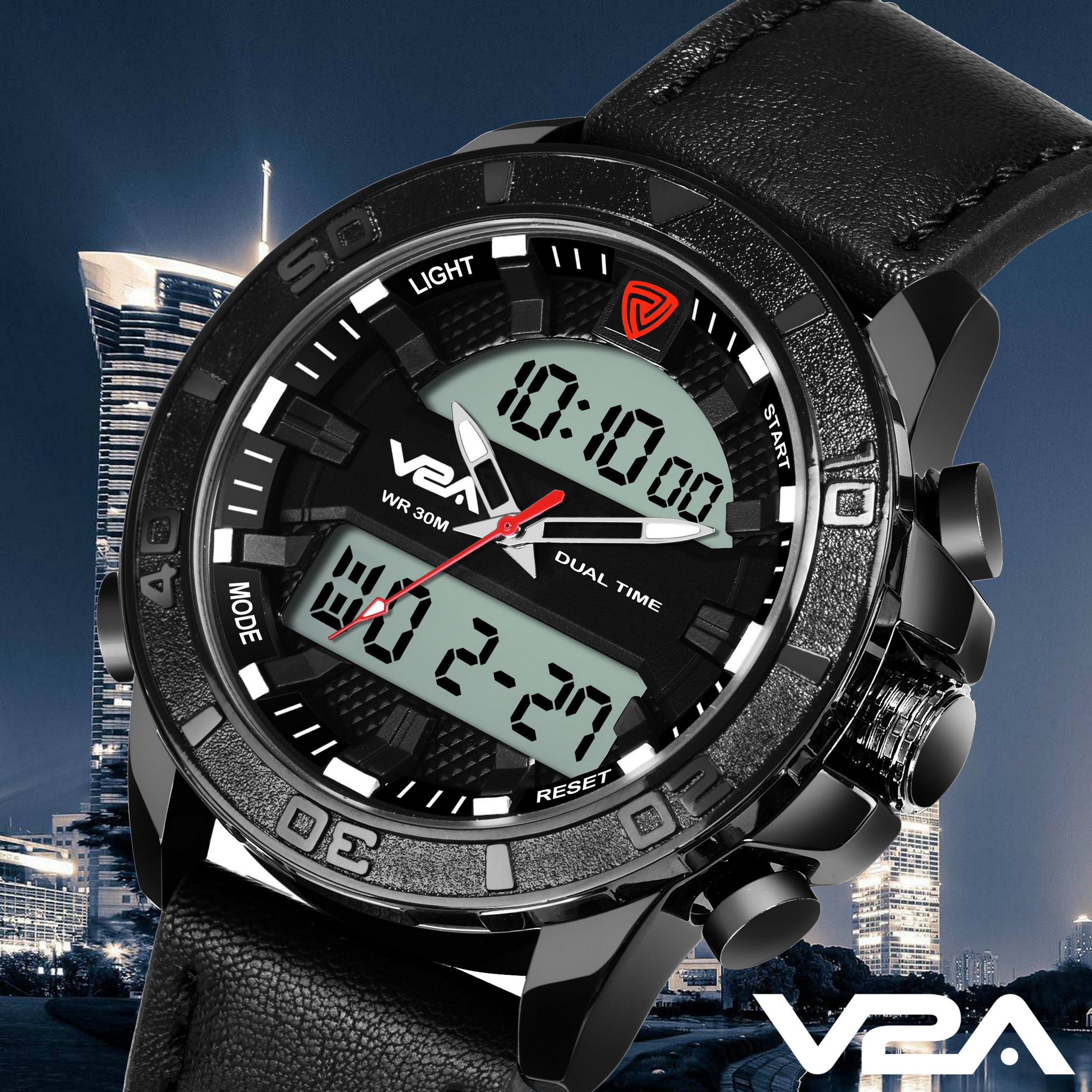 V2A Fashionable Casual Leather Analog Digital Men #039;s Watch