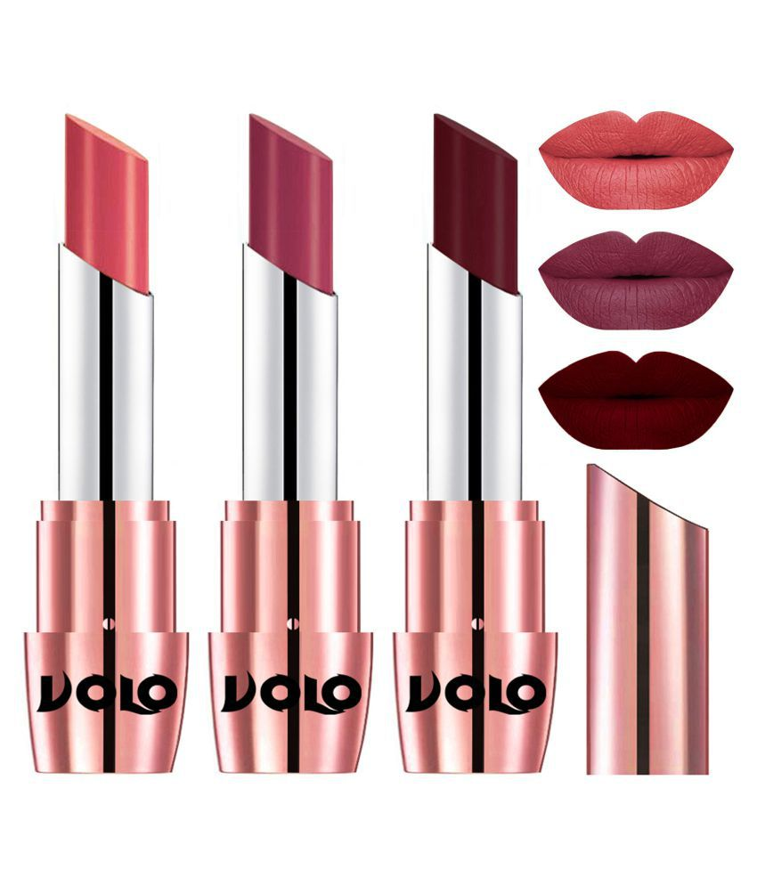 VOLO Perfect Creamy with Matte Lipstick Dark Peach,Rose Pink Maroon Pack of 3 10 g