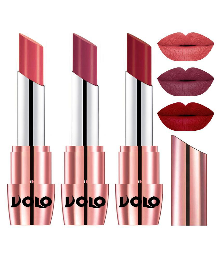 VOLO Perfect Creamy with Matte Lipstick Dark Peach,Rose Pink Red Pack of 3 10 g
