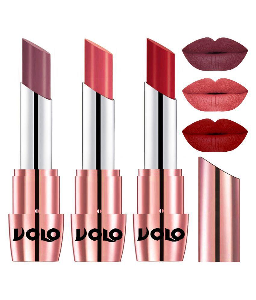 VOLO Perfect Creamy with Matte Lipstick Plum,Dark Peach, Red Pack of 3 10 g