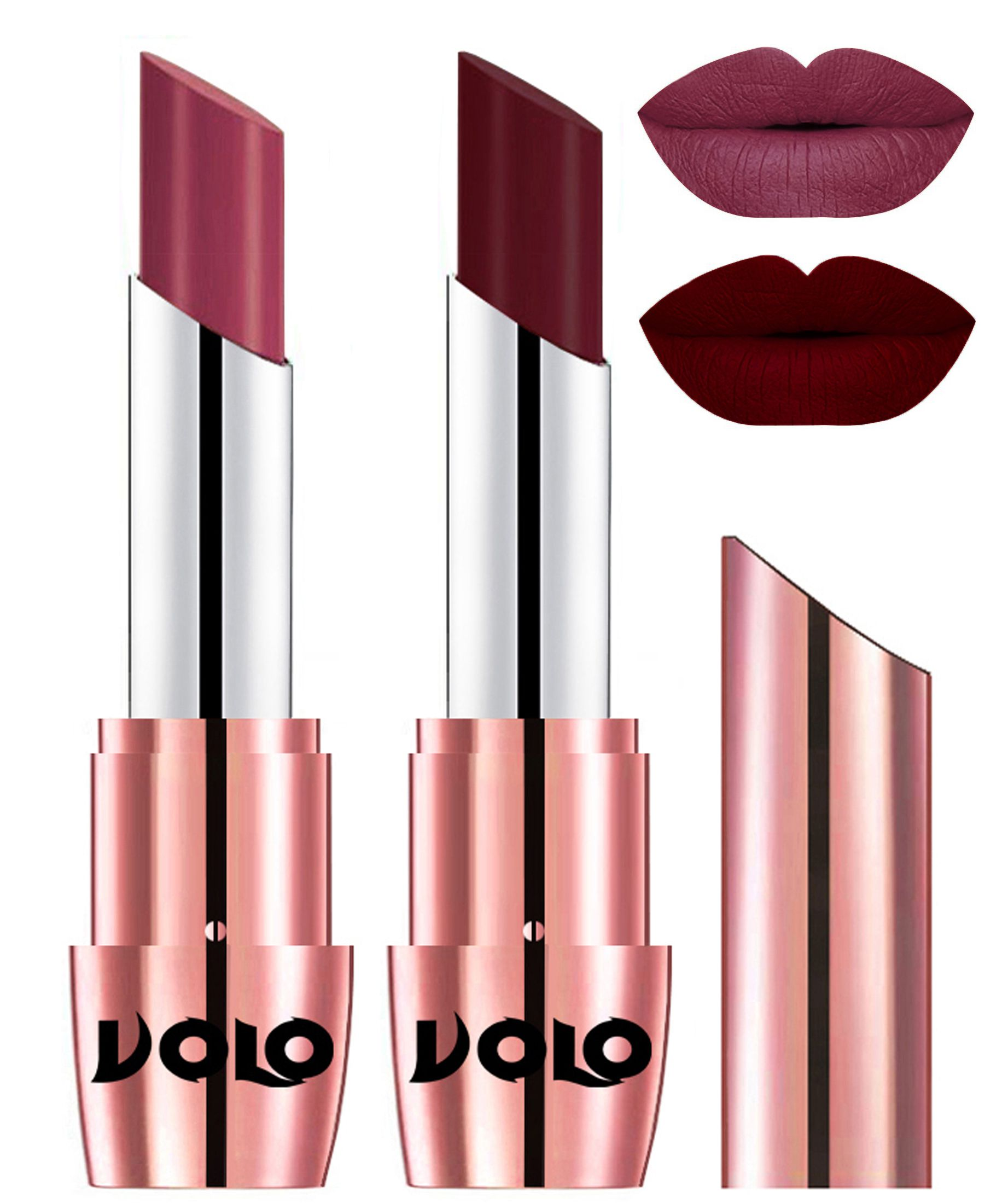 VOLO Perfect Creamy with Matte Lipstick Cherry Maroon Pack of 2 7 g