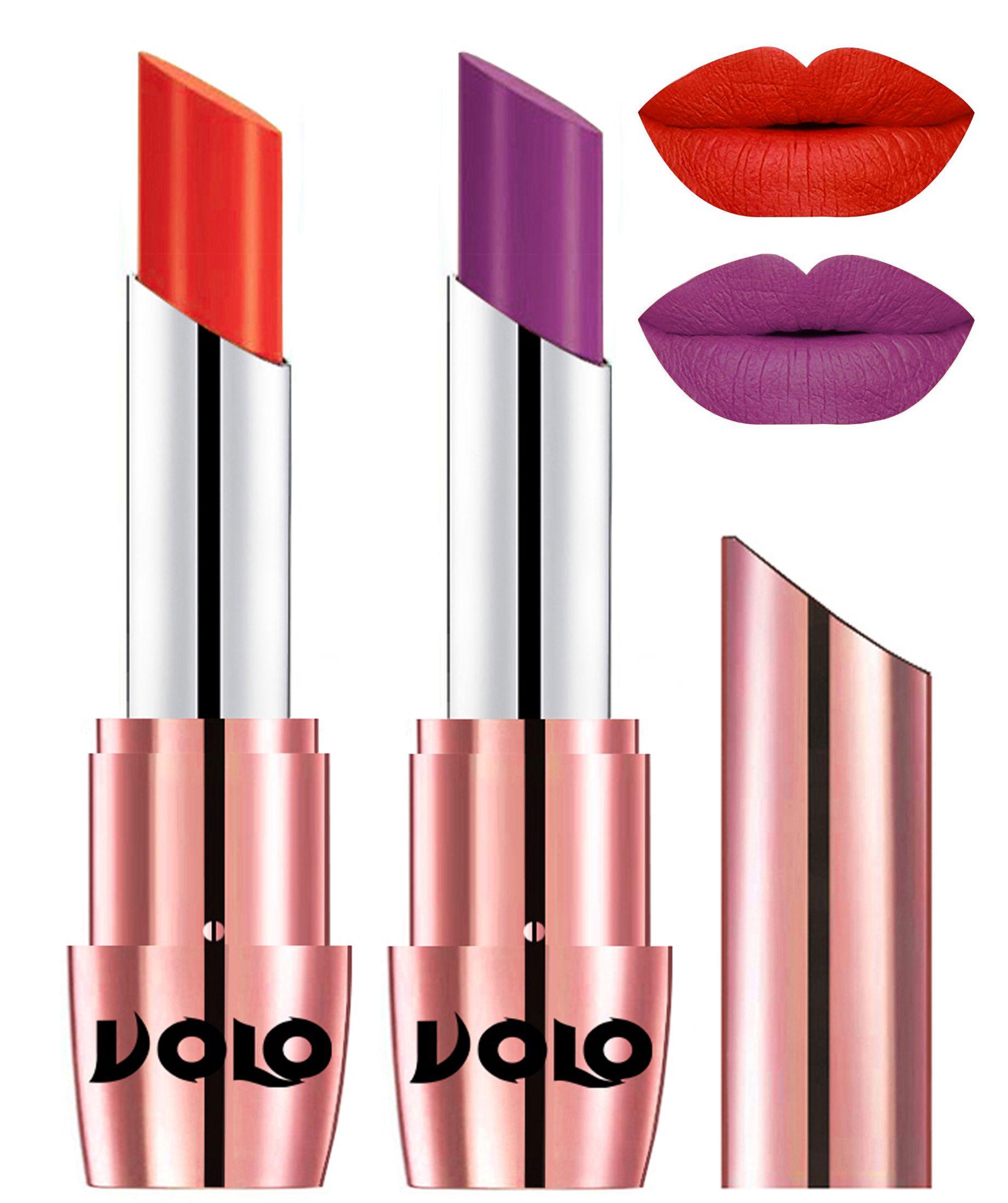 VOLO Perfect Creamy with Matte Lipstick Coral Purple Pack of 2 7 g