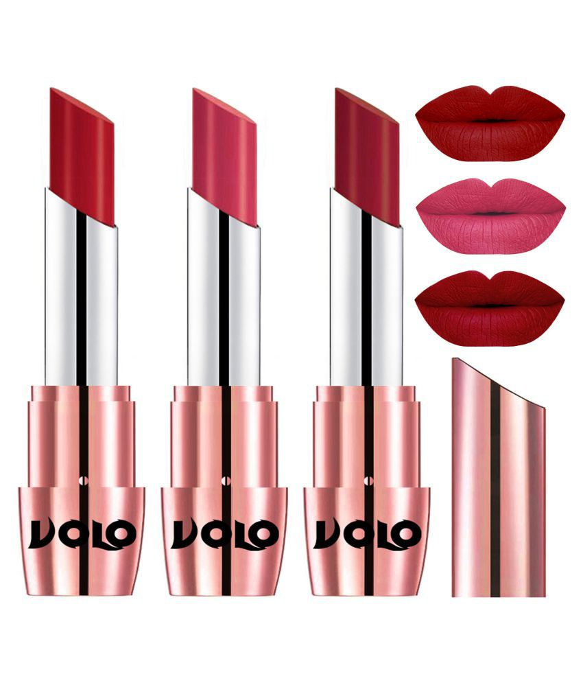 VOLO Perfect Creamy with Matte Lipstick Tomato Red,Pink, Red Pack of 3 10 g